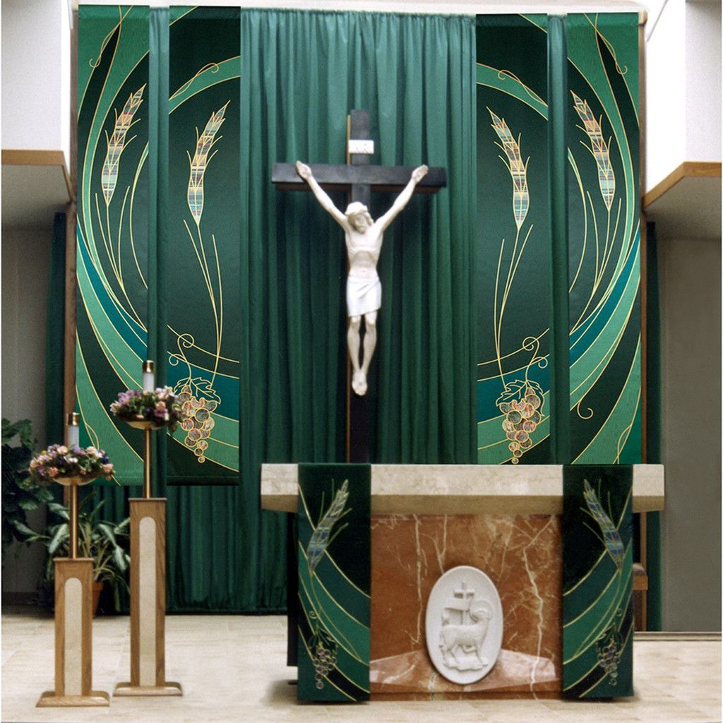 Catholic Wedding Altar Decorations: Ordinary Time Eucharistic Green Wall Hangings And Altar
