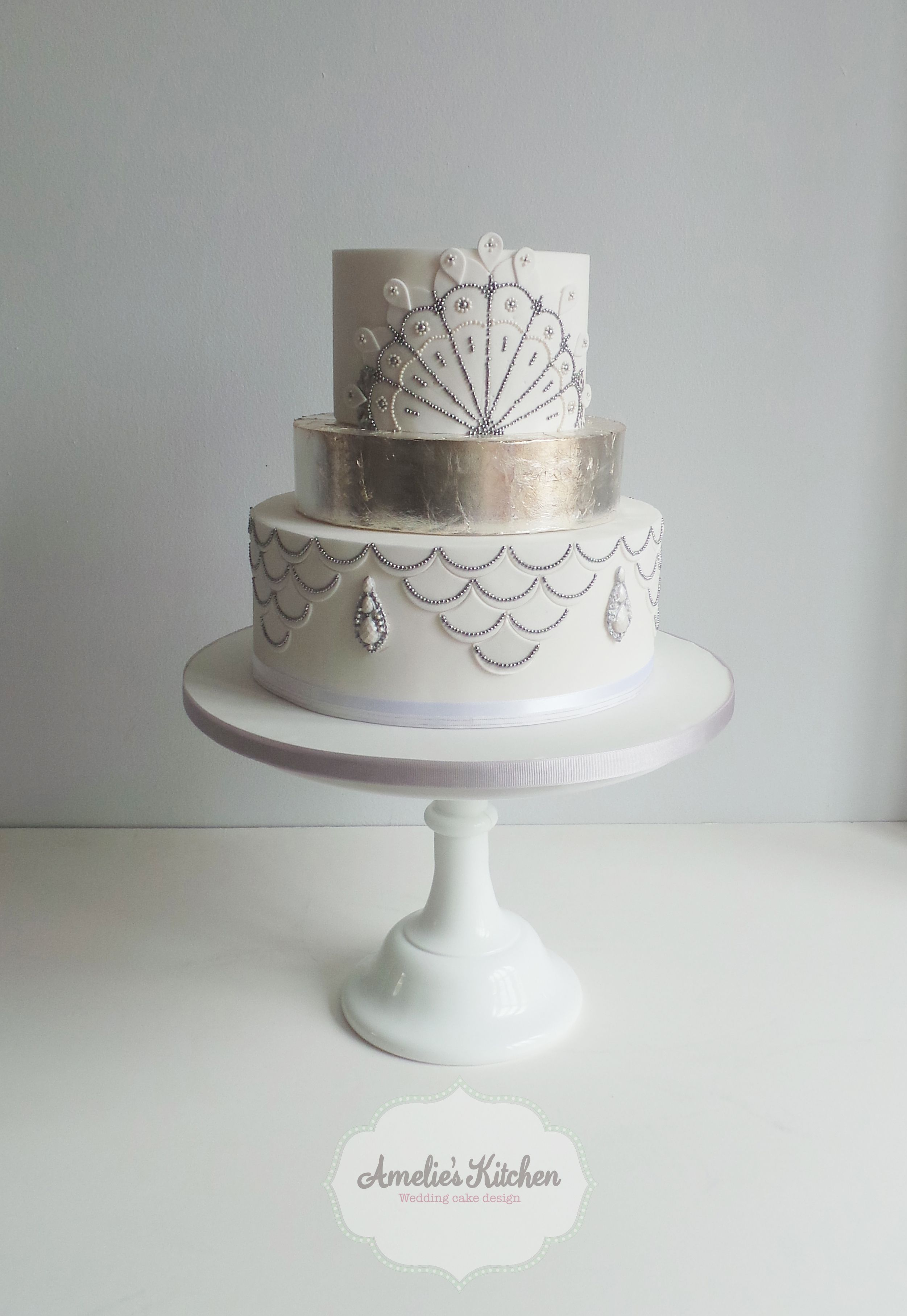 1920\'s white and silver wedding cake | Just Cake | Pinterest ...