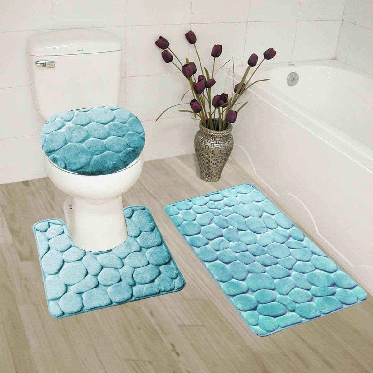 Bathmats Rugs And Toilet Covers 133696 Rock Aqua 3pc Embossed