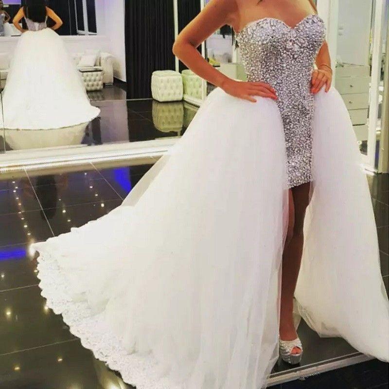 Nice Great Hi-Low Rhinestones Beaded Short Beach Wedding Dresses ...