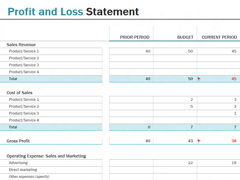 Profit And Loss Statement  Work    Template