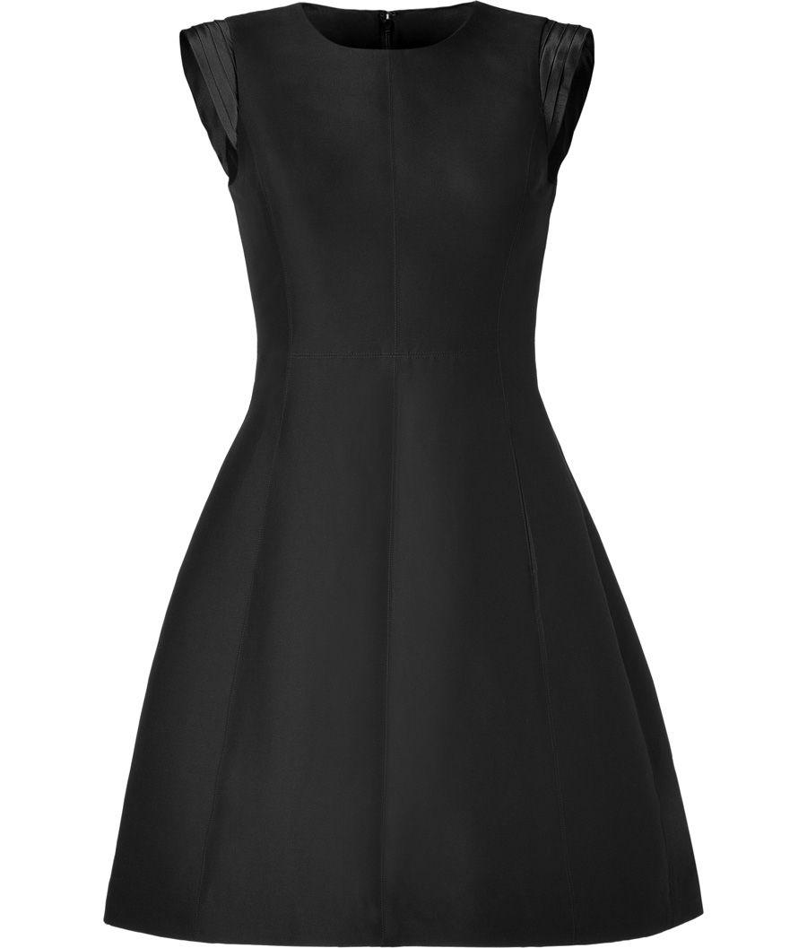 Black Cotton-Silk Pleated Cap Sleeve Dress