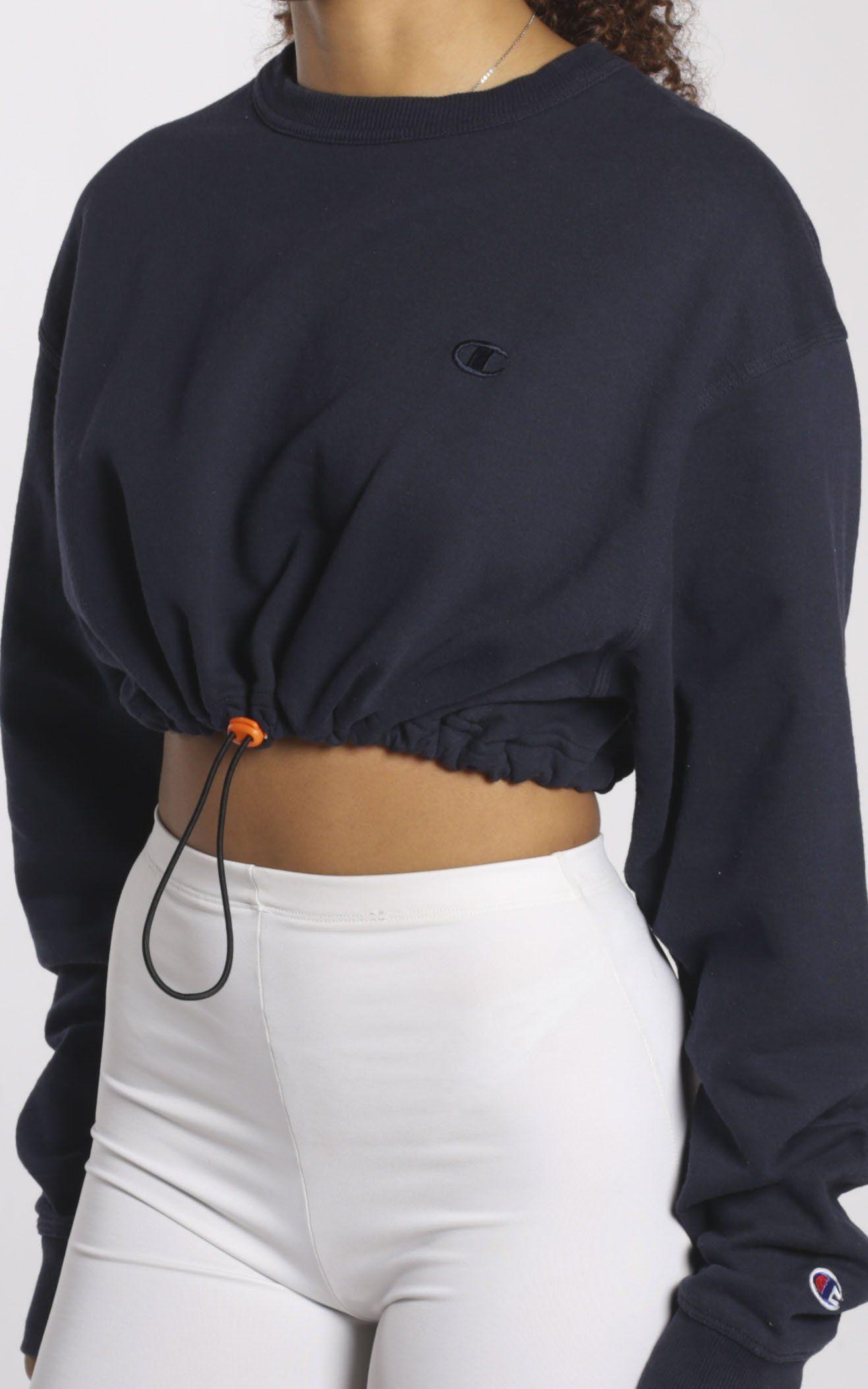 Vintage Rework Champion Cinched Crop Sweatshirt Frankie Collective Crop Sweatshirt Aesthetic Clothes Fashion