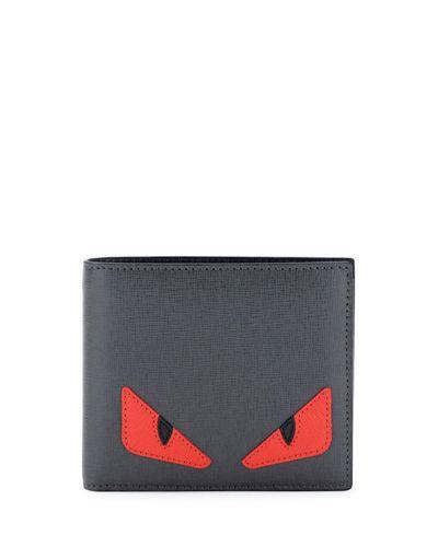 7ba1725578 Fendi Silver Monster Eyes Leather Bi-Fold Wallet   *Neiman Marcus ...
