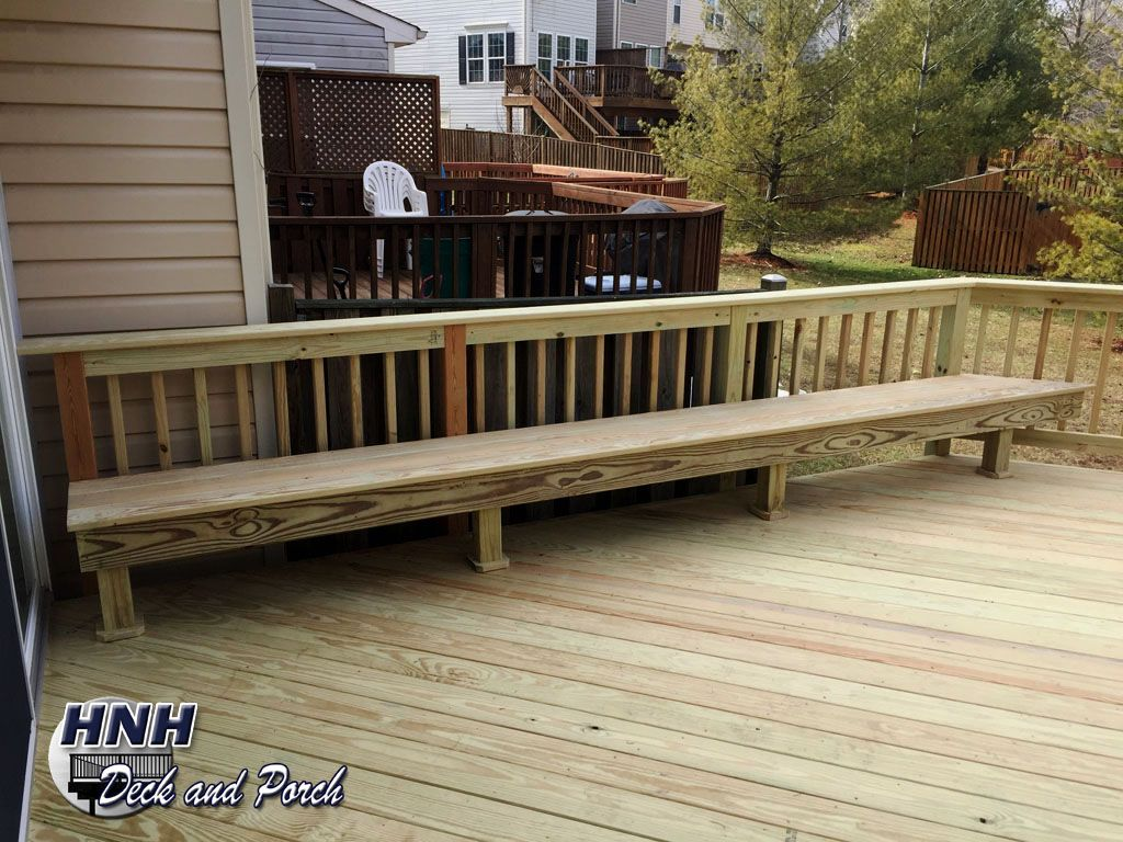 Acq pressure treated pine wood deck with bench hnh low acq pressure treated pine wood deck with bench baanklon Image collections