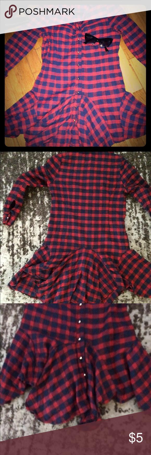 Red flannel unbuttoned  Red u Navy Plaid dresstunic  Short people Plaid dress and Plaid