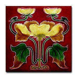 Amazon.com: CafePress - Art Nouveau Autumn Flower Tile Coaster - Tile Coaster, Drink Coaster, Small Trivet: Kitchen & Dining