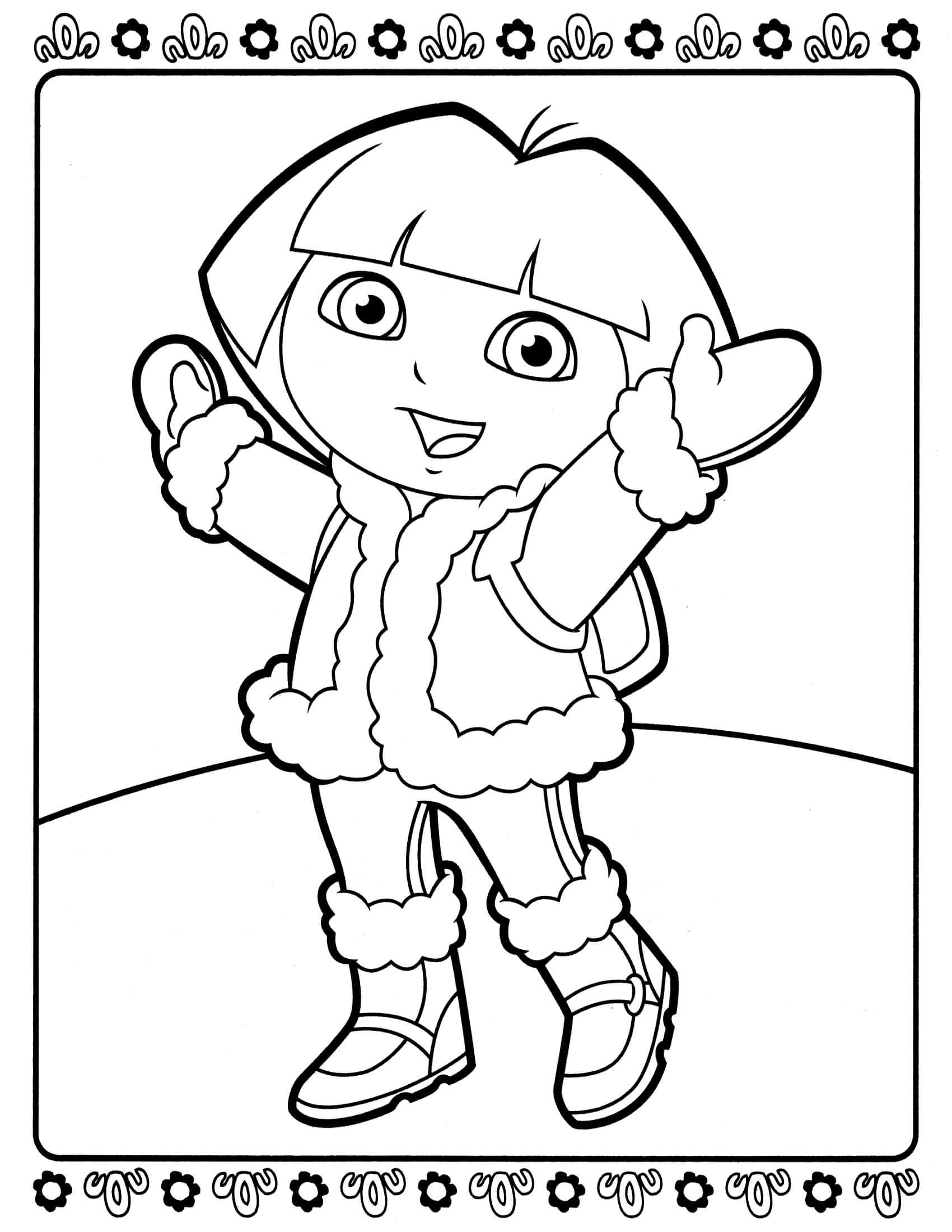 Dora Parties With Santa And Friends Coloring Page Winter Coloring Pages Kids Coloring Books Winter Coloring