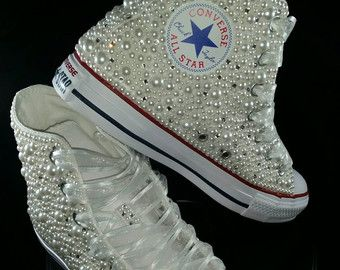 3660bae1a02038 Bridal Converse- Wedding Converse- Bling   Pearls Custom Converse Sneakers-  Personalized Chuck Taylors- All Star Converse Sneakers- Bride