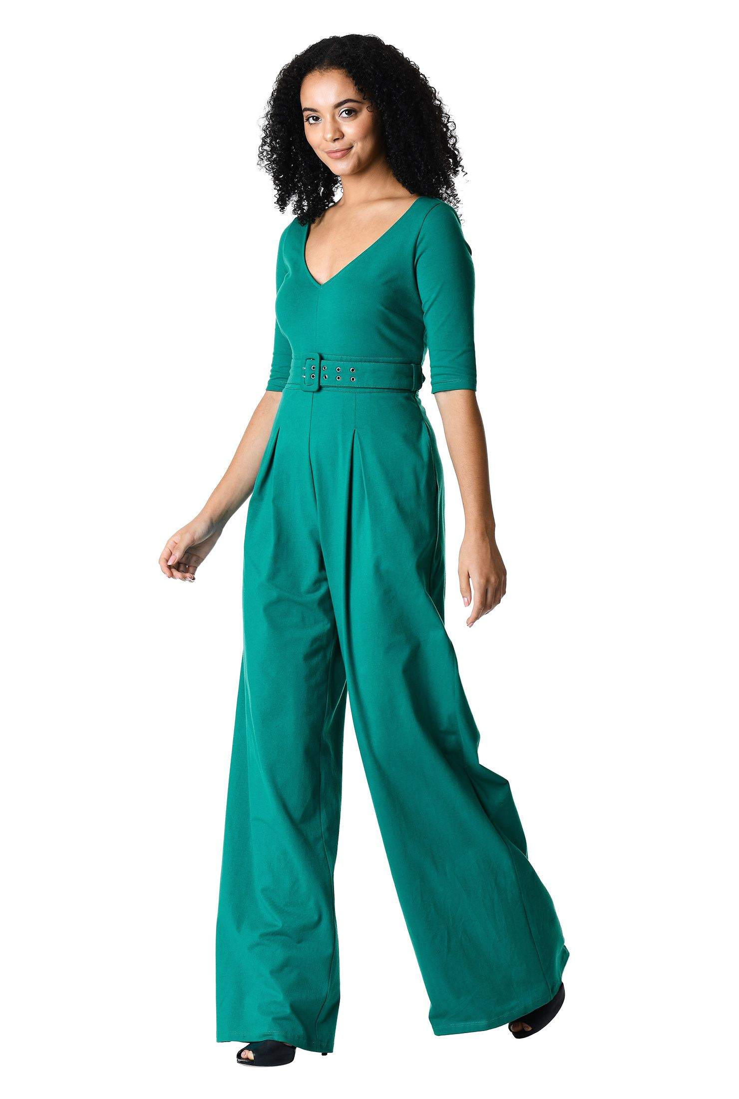 e475007060b8 Make the most of the seventies trend in our flattering cotton knit jumpsuit  topped with a V-neckline and finished with flowing wide legs.