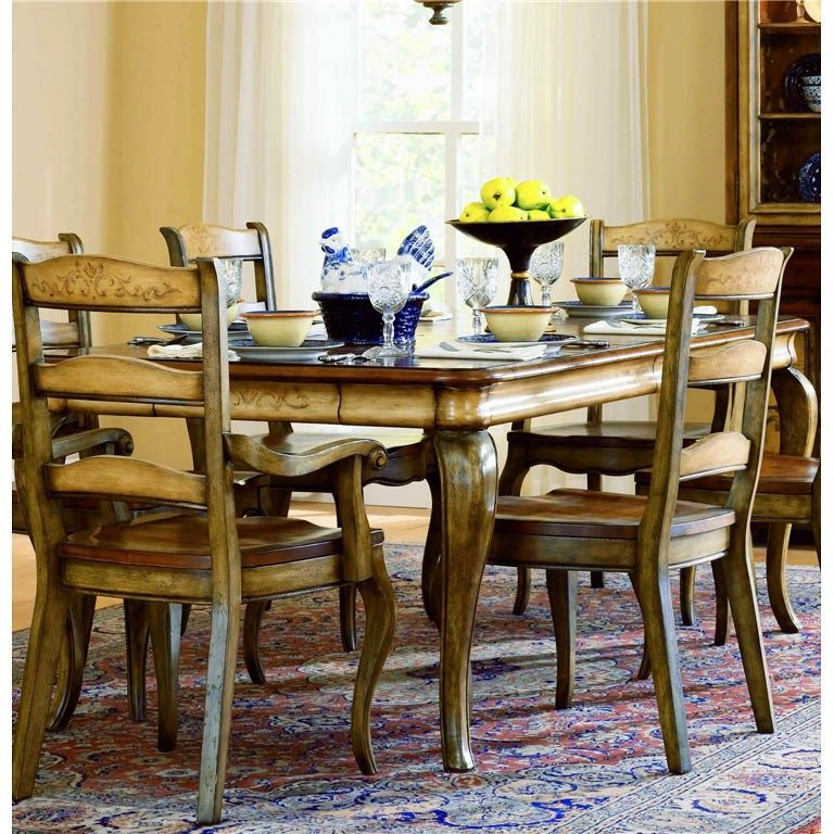 Hooker Furniture 478 75 200 Vineyard Rectangle Dining Table In Medium Wood  With Two