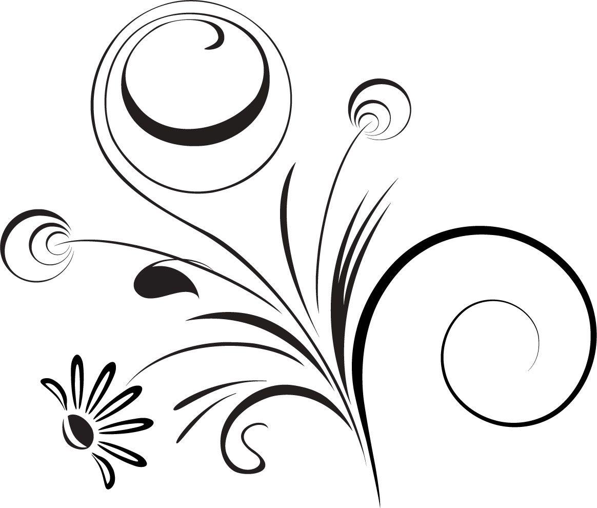 白黒の花のイラスト-白黒・茎葉・曲線 | アート | pinterest | 花の