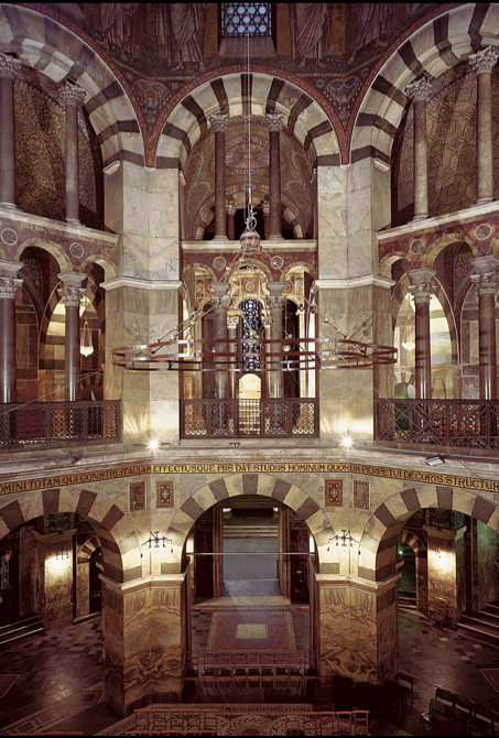 Palace Chapel of Charlemagne, late 8th cent, Carolingian. architecture, interior.  Germany.