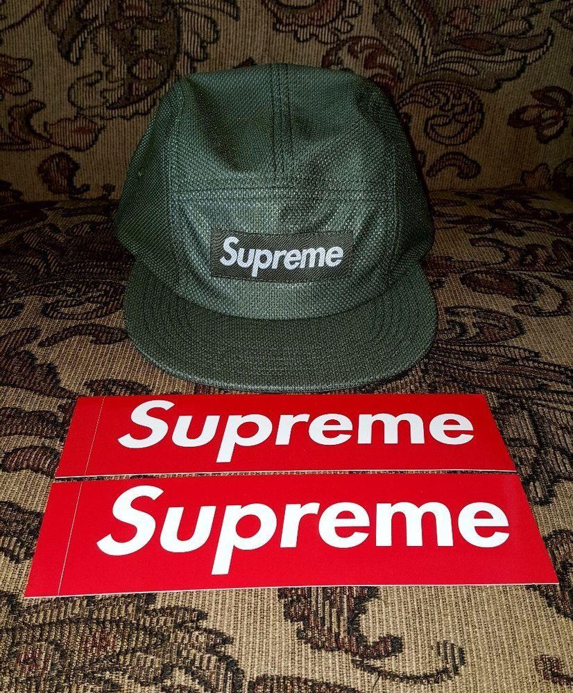 Supreme Bonded Mesh box logo Camp cap hat Olive  Green with 2 Red BOGO  stickers  Supreme 774eeebb0ba