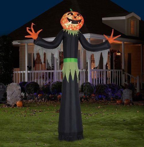 air blown pumpkin head man halloween lawn decoration light up party prop yard
