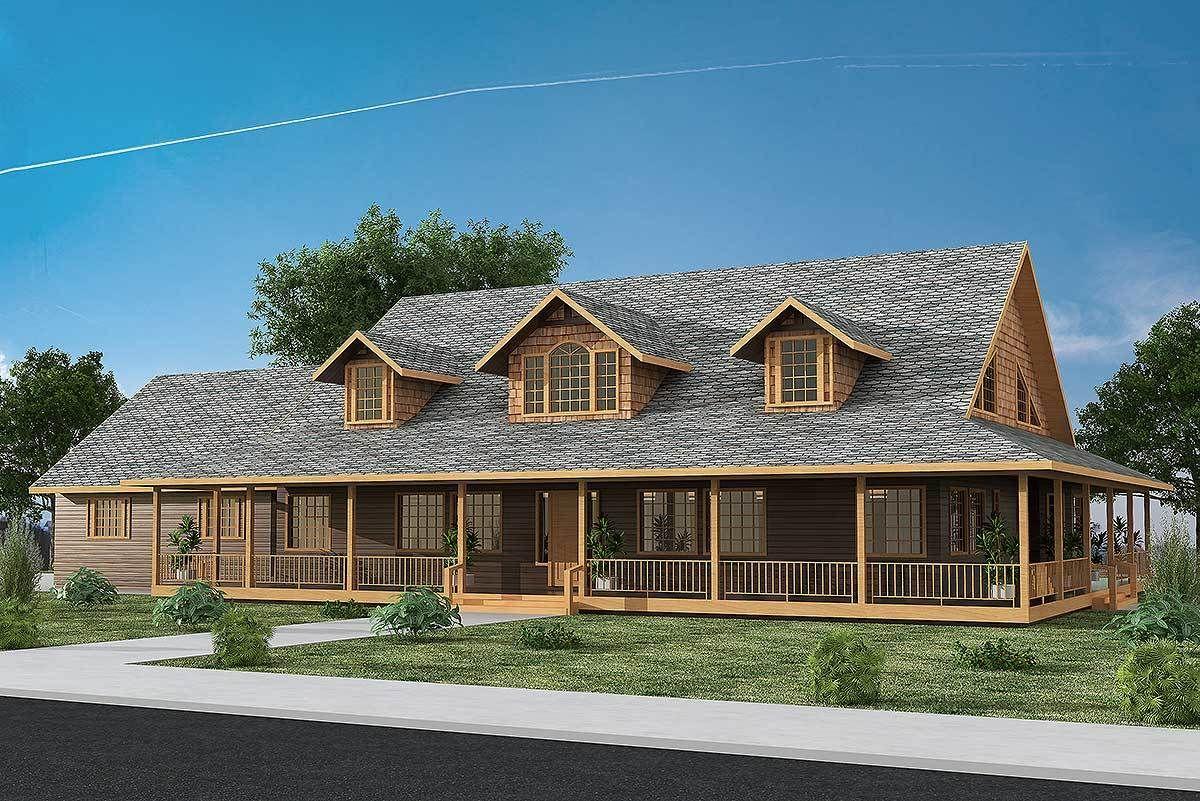 Plan 35437gh Fabulous Wrap Around Porch House Plans Farmhouse Brick Exterior House Porch House Plans