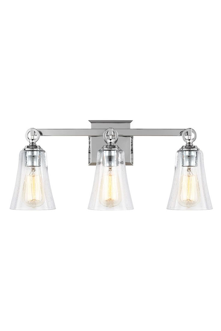 Vanity Light Shade Glass : Monterro 3 - Light Vanity by Feiss: Features beautiful, tapered, bell-shaped glass shades that ...