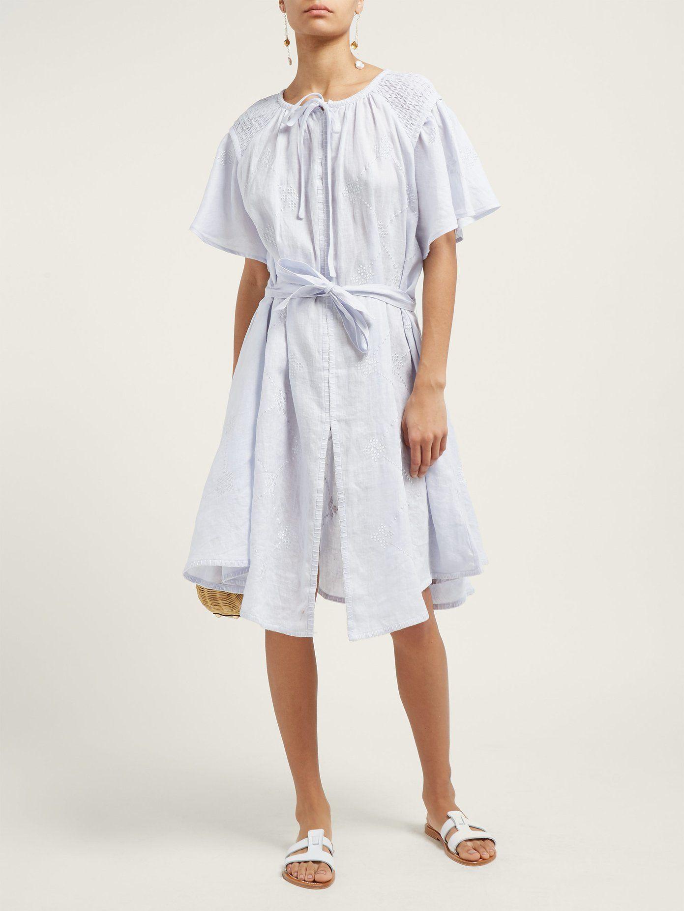 Geometricembroidered smocked linen midi dress innika