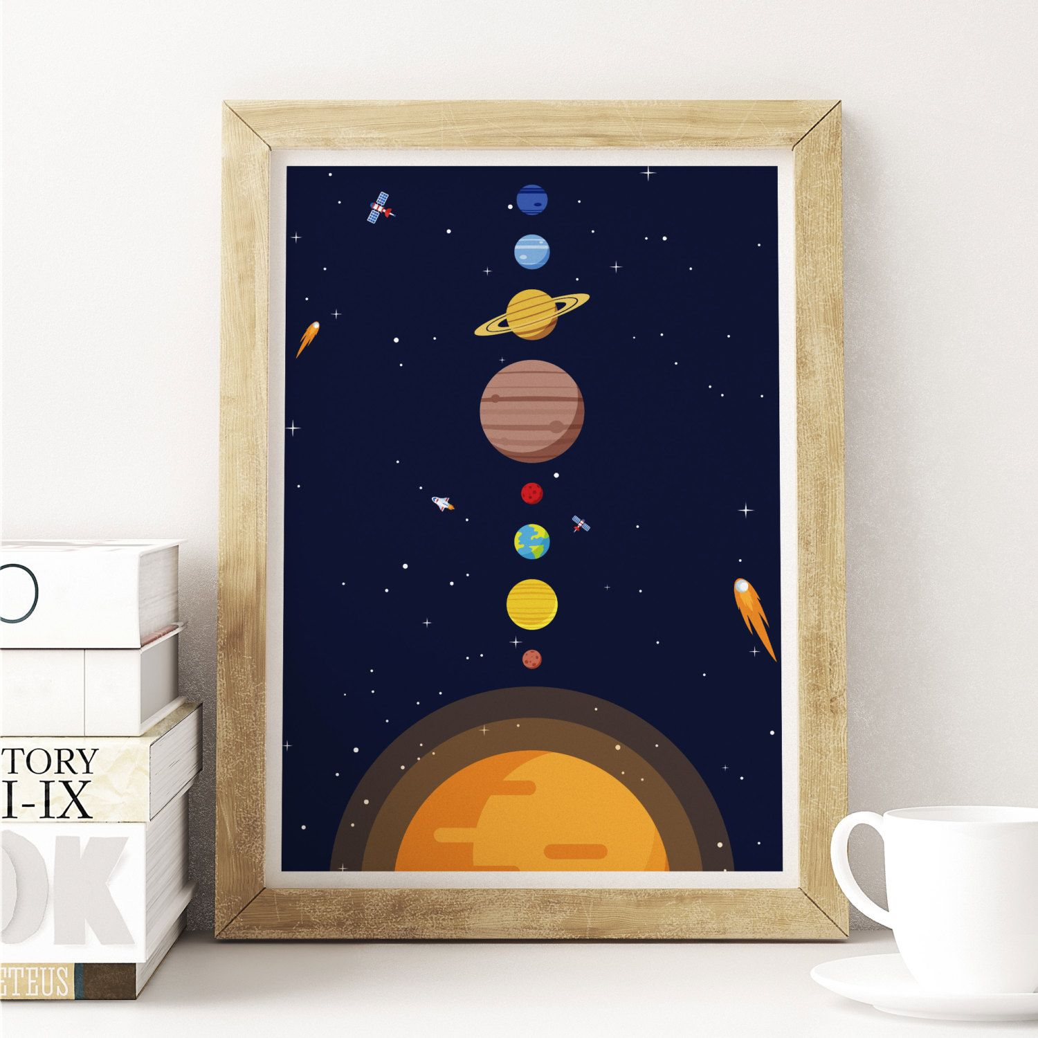 Solar System Print, Space Print, Poster, Milky Way