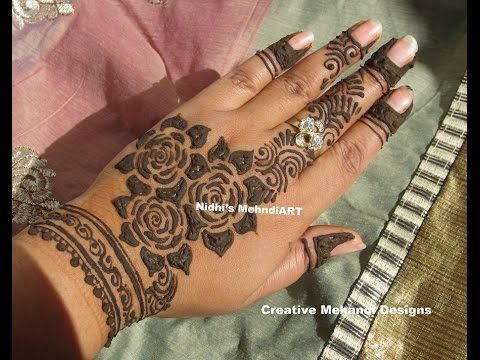 Latest Flower Mehndi Design : Youtube gulf style rose flower henna mehndi mehandi design