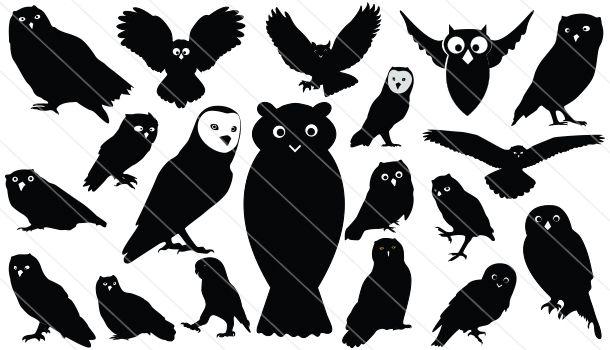 Owls Silhouette Vector Download Owls Vector Owl Silhouette Silhouette Vector Animal Silhouette