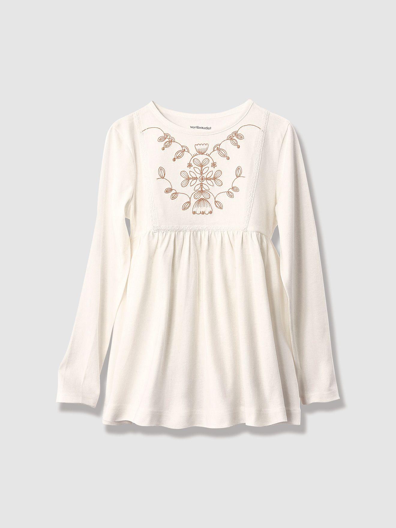 Adoramos os detalhes bordados desta camisola, para usar como uma blusa. Camisola para menina de mangas compridas. Plastrão efeito bordado e barra em m-Menina 2-14 anos-Vertbaudet-Camisola efeito blusa, para menina