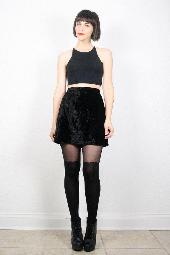 36b6a5438b Vintage 90s Skirt 1990s Skirt Grunge Skirt Mini Skirt Black Crushed ...