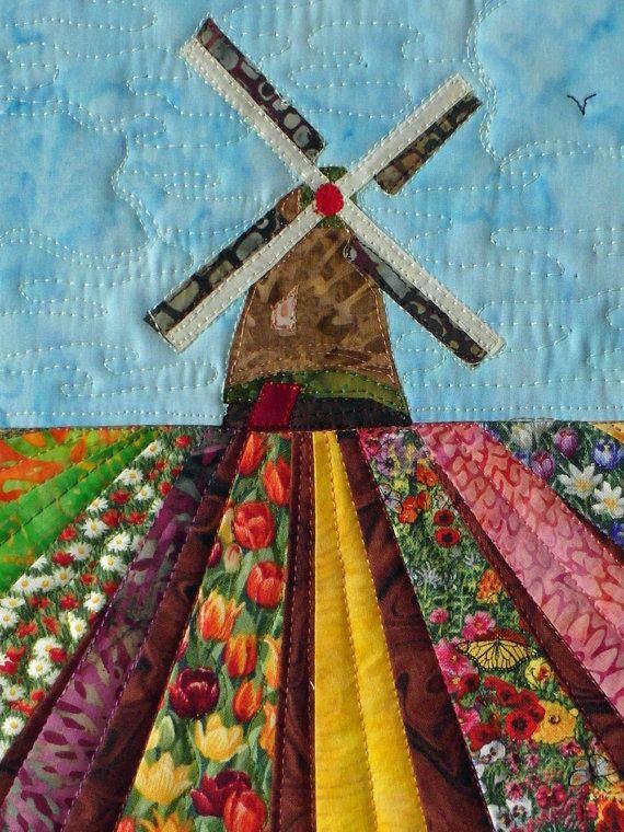 Dutch windmill with tulip fields   Wind mills, Quilt sizes and ... : handmade quilt sizes - Adamdwight.com