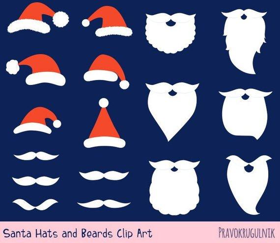 Santa Hat And Beard Clipart Set Santa Hat Clip Art Digital Etsy Beard Clipart Clip Art Kawaii Christmas