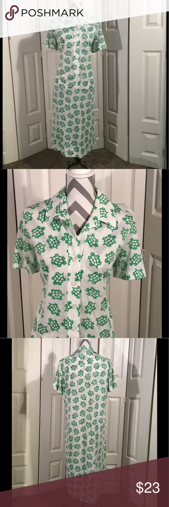 "Vintage shirt dress with turtles size Large Vintage shirt dress with a cute green turtle pattern.  The fabric is a jersey like cotton blend. Buttons up the front center.  Best fit for a modern size Large. Bust - up to 46"".  Waist - up to 42"".  Hips - up to 50"". Length - 45"" Vintage Dresses"