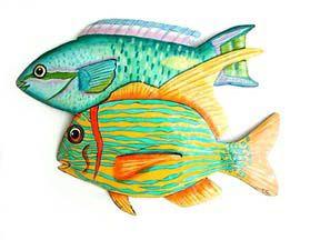 Hand Painted Tropical Fish Wall Art Beach Decor Outdoor Metal