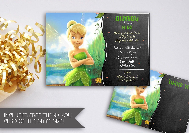 Tinkerbell Chalkboard Birthday Invitation | Tinkerbell Birthday ...