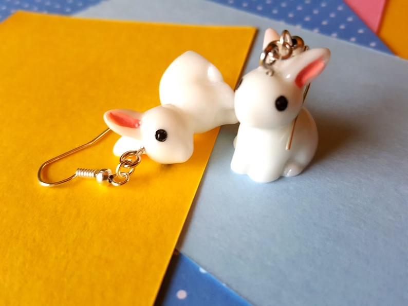 Miniature rabbit earrings cute animal jewelry mini animals   Etsy