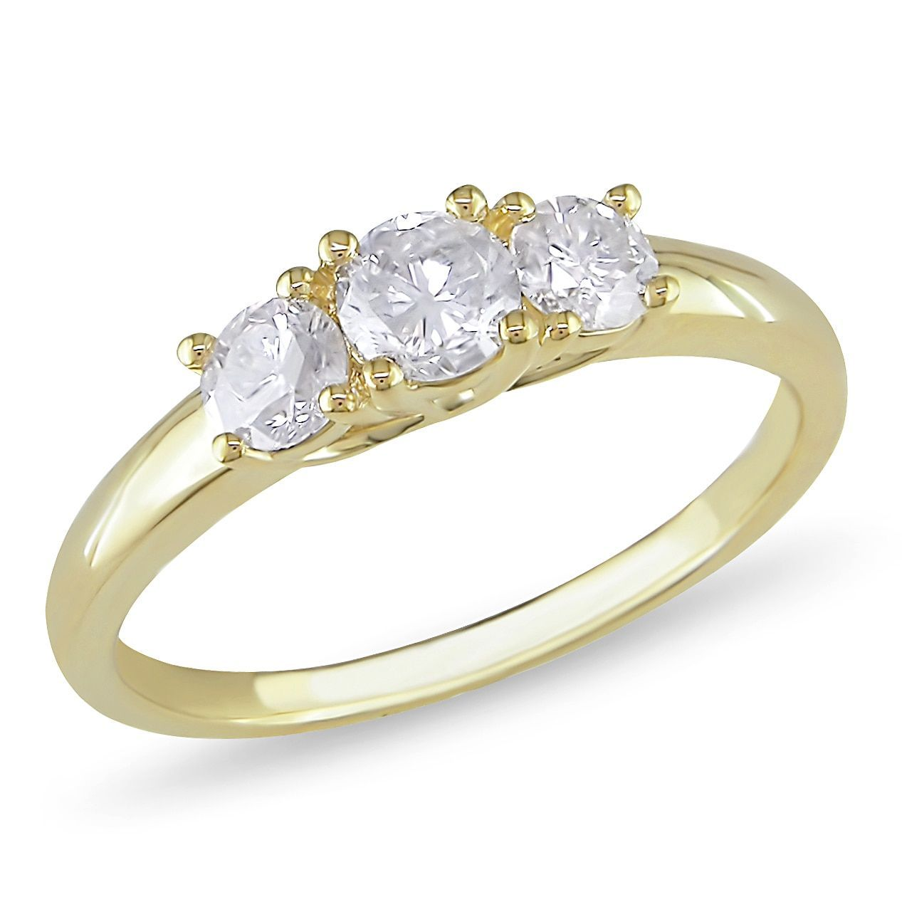 Miadora 10k Gold 3/4ct TDW Diamond Three Stone Ring