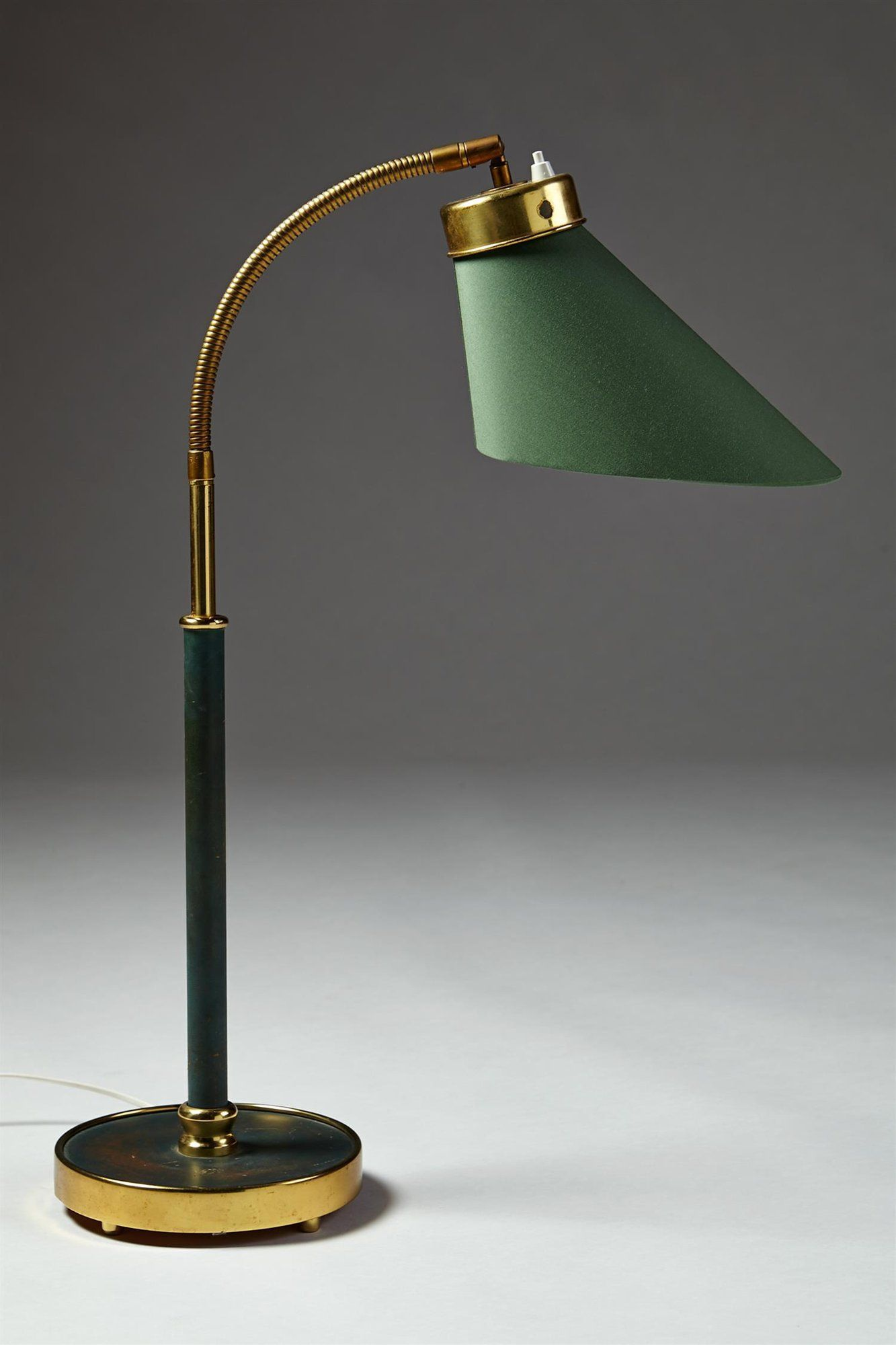 Table Lamp Designed By Josef Frank For Svenskt Tenn Sweden 1940 S Lacquered Brass Polished Brass And Cotton Lamp Design Cool Lamps Table Lamp Lighting
