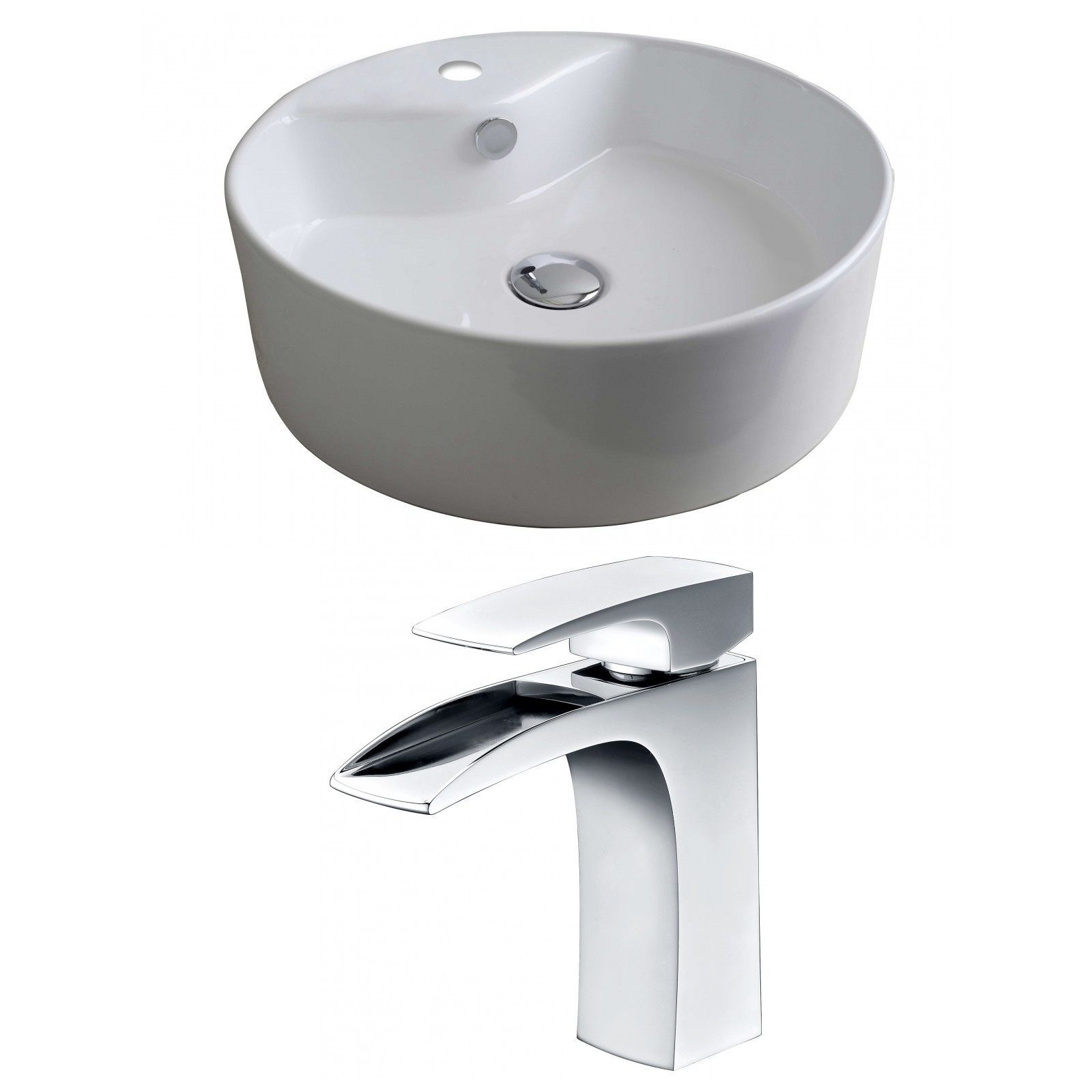 Round Vessel Sink with Overflow