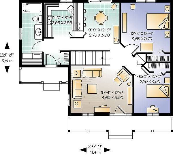 Inland Cottage 2 1390 - 2 Bedrooms and 1 Bath | The House Designers