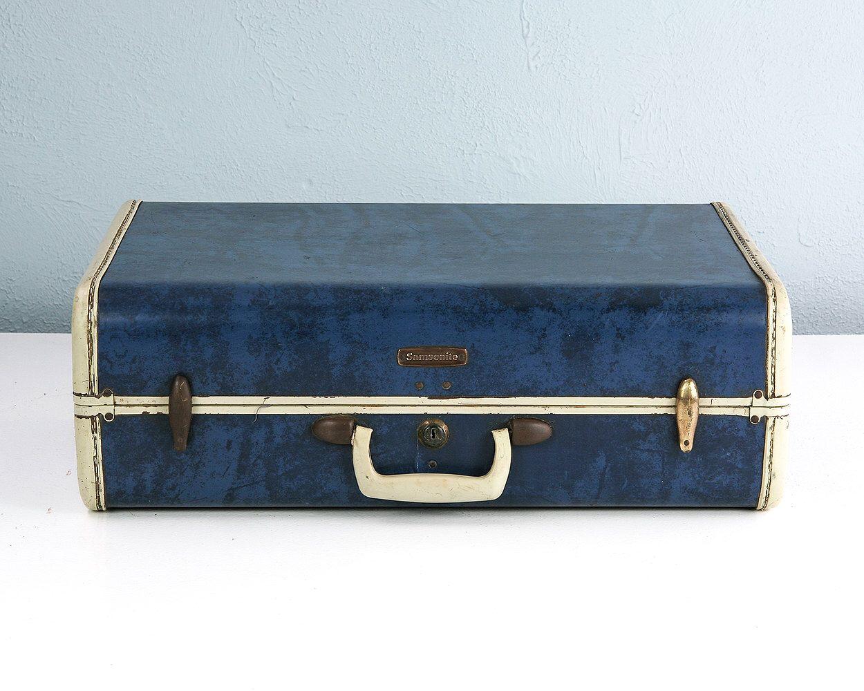Vintage Blue Marble Samsonite Suitcase, Blue Suitcase, Vintage ...