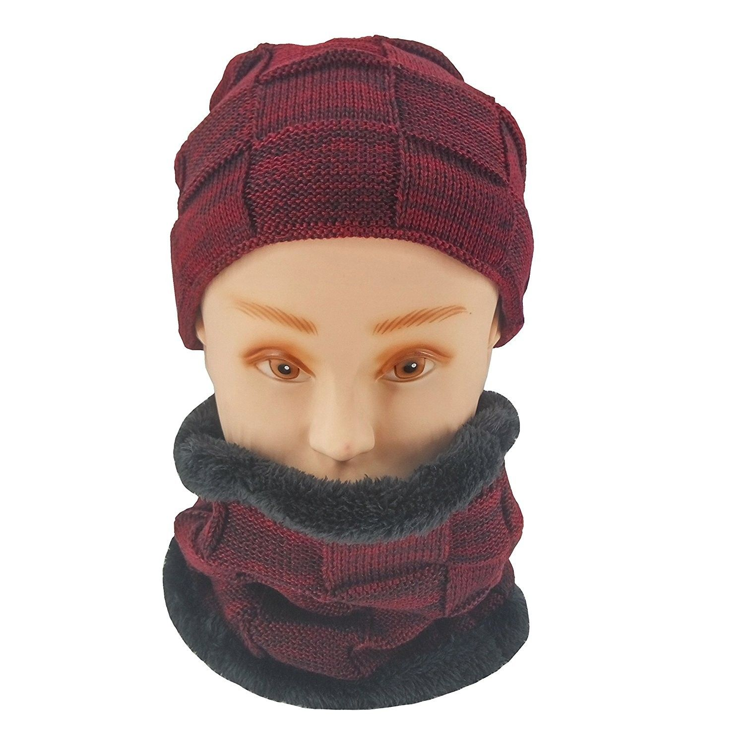 e29ab060443 Winter Slouchy Beanie Cable Knit Skull Hat Warm Scarf Thick Ski Cap ...