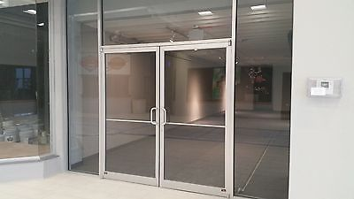 Beau ALUMINUM STOREFRONT DOORS SILVER NARROW STILE 6 0 X7 0 WITH GLASS