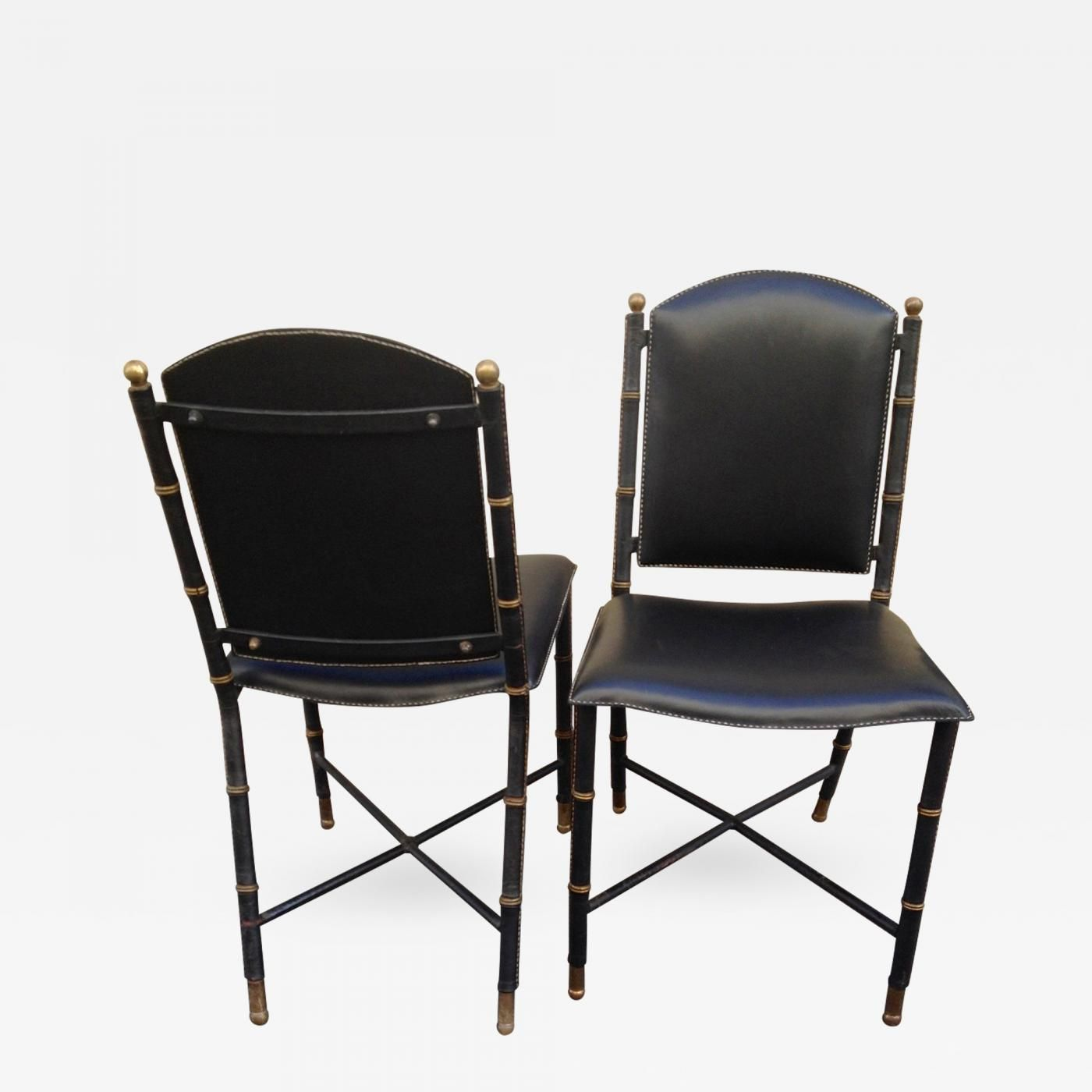 Jacques Adnet Jacques Adnet Rare Vintage Pair Of Hand Stitched  # Muebles Gustavo Martin