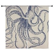 Dark Blue Vintage Wood Cut Octopus Curtains