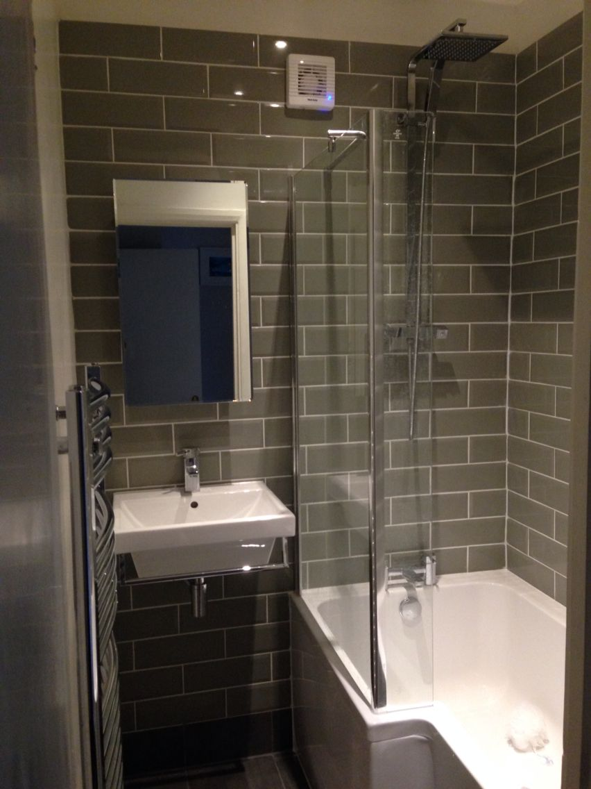 metro tiles bathroom ideas Sage metro tile small bathroom with l shaped shower bath