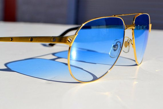 82f4618f02f Cartier Edition Santos Dumont sunglasses with custom baby blue shaded  lenses   original lenses
