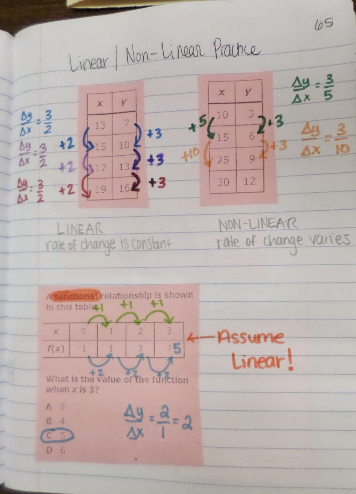 Linear Vs Non Linear Practice In Inb 8 5 5