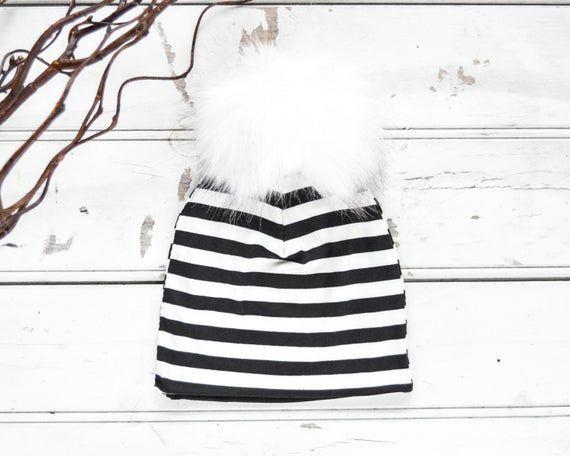 Black and white striped hat with fur pom pom // Baby