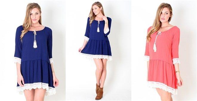 Lace Applique Contrast HI/Low Hem Scoop Neck Tunic Dress #tunicdress