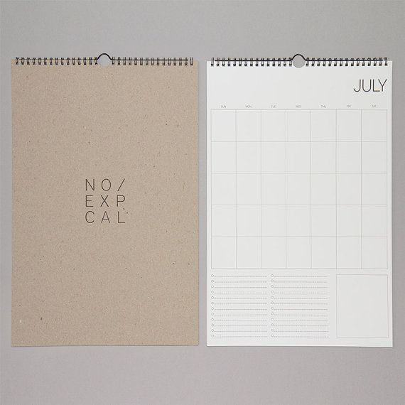 No Exp Wall Calendar Wire binding, Wire hangers and Large format