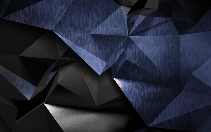 Download Wallpapers 4k Geometry Polygons 3d Art Geometric Shapes Dark Background Acer Predator Besthqwallpapers Com Wallpaper Geometric Background Computer Wallpaper