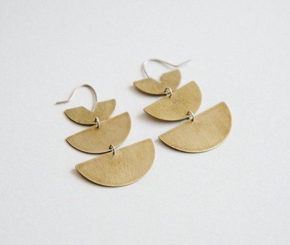7fab3b4c06ca28 Gold Statement Earrings, Half Moon Earrings, Lunar Phase Earrings, Half  Circle Geometric Earrings